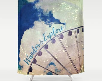 Fabric Shower Curtain, Bathroom Decor - Wander & Explore,  Ferris Wheel, Festival, Photography by RDelean Design