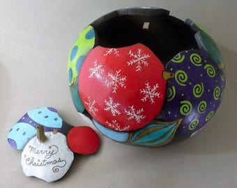 Home grown and hand made Christmas ornaments Art Gourd bowl.