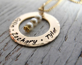 Hand Stamped Gold Mother's Necklace, Personalized, 2 Kids Names or 3 Kids Names, Family Jewelry, Twins, Triplets