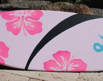 Mini surfboard wall art, beach decor, personalized children's room art, kid's decor, hawaii, hibiscus flowers, girls room decor
