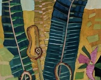 Ferns and Trillium Original Oil Painting