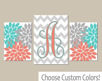 Turquoise Coral Wall Art, CANVAS or Prints, Girl Nursery Art, Bedroom Art, Gray Chevron Monogram, Flower Burst, Set of 3, Home Decor