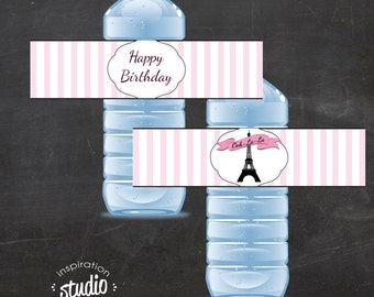 Printable Ooh La-La- Paris, Eiffel Tower, Water Bottle Wrappers, Water Bottle Labels - TWO OPTIONS - Instant Download