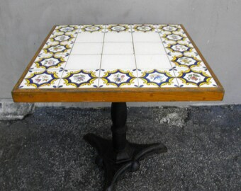 Oak Tile and Metal Square Center Table 1638