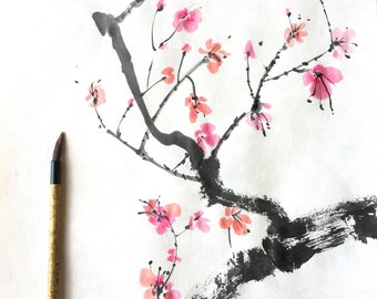 Sumi-e Cherry Blossom, spring, sumi-e, sakura