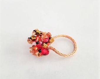 Beaded Copper Braid Ring