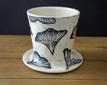 Sgraffito Pottery Pour Over Cone - Ginkgo Ceramic Pour Over Brewer - Pottery Pour Over Dripper Cone - Father's Day Gift - Gift for Him