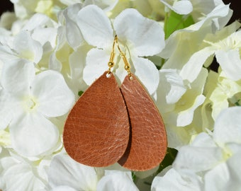 Cognac Tan Leather Earrings. Genuine leather, handmade, lightweight, and chic!