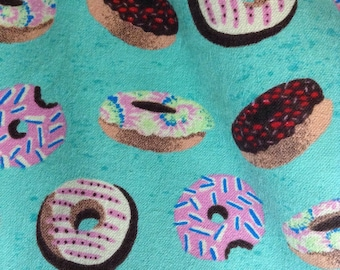 One Half Yard of Fabric - Frosted Donuts FLANNEL, Dessert fabric, Donut Fabric