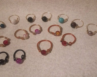 Handmade beaded rings