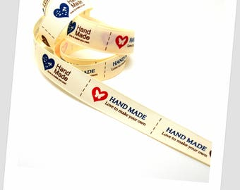 "1 meter of Ribbon 9mm - ""handmade"" - ""hand made"""