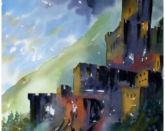 Original watercolor painting, architecture, landscape