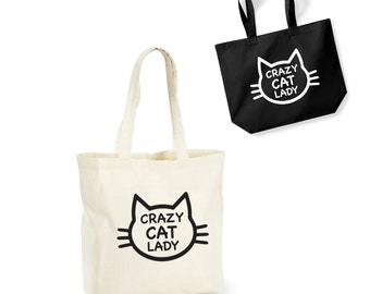 Crazy Cat Lady Tote Bag Funny Cotton Shopping Lightweight Pet Lover Kitten Funny/Secret Santa/Gift