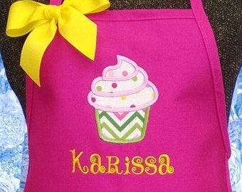 Childrens Apron Kids Apron Child Apron Girls Personalized Gift CupCake Monogrammed Gift