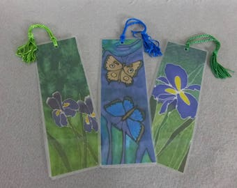 "Bookmarks ""Iris Garden Medley"" (set of 3), Silk Art Bookmarks, Stocking Stuffers"
