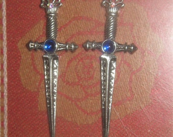 Medieval Pewter And Blue Crystal Lightweight Sword Earrings