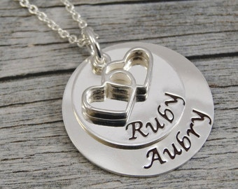 Hand Stamped Jewelry - Personalized Jewelry - Mothers Necklace - Sterling Silver Necklace - Two Names - Double Heart