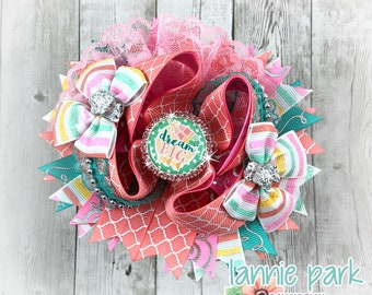 Dream Big Boutique Bow ~  Feathers Stacked Boutique Bow ~ Layered Bow ~