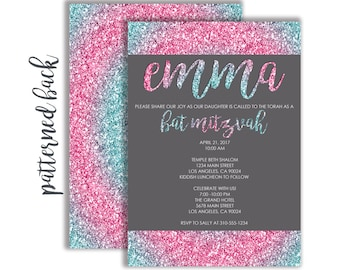 Custom Blue and Pink Glitter Bat Mitzvah Invitation