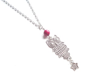 Owl Necklace, Long Necklace, Boho Necklace, Silver Necklace, Pink Necklace, Metal Necklace, Gemstone Necklace, Owl Pendant, Pendant Necklace