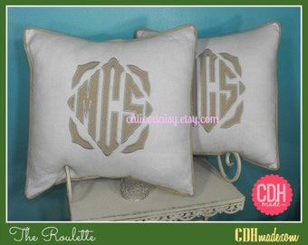 SET OF 2 - The Roulette Applique Framed Monogrammed Pillow Cover - 18 x 18 square