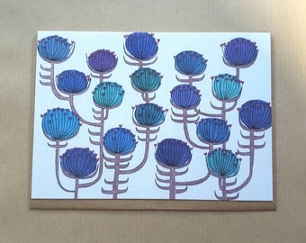 Blue Flowers - card for any occasion  - greetings card - spring card - art card - notcard - flower card - hello card - illustrated card