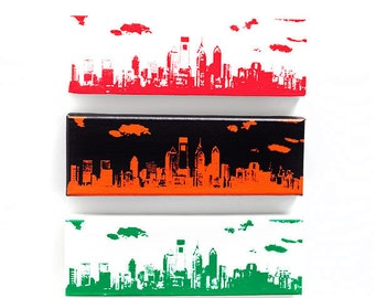 Philadelphia Skyline Canvas: Philly Sports Trio Edition II (12 x 4 inches each) Green, White, Red, Black, and Orange