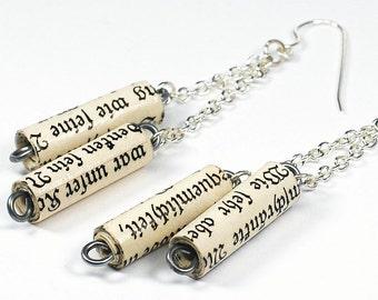 German Paper Bead Jewelry- German Bead Earrings, Silver Chain Earrings, Paper Bead Earrings, German Jewelry, Paper Jewelry, Book Lover Gift