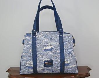 Satchel, Shoulder Bag, Nautical Shoulder bag, Zippered purse, Zippered shoulder bag, Tote bag