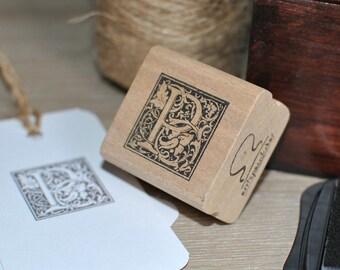 Letter P Rubber Stamp, Monogram P stamp, Wood Mounted Rubber Stamp, Alphabet letter P stamp