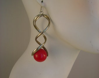 Large Long Vintage Silvertone Funky Retro Red Ball Disco Dangle Statement 1980s Niobium Wires Earrings