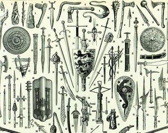 1933 Antique Weapons Print. Sword Gun Lance Pike Crossbow Shield Wall Art Vintage Home Decor