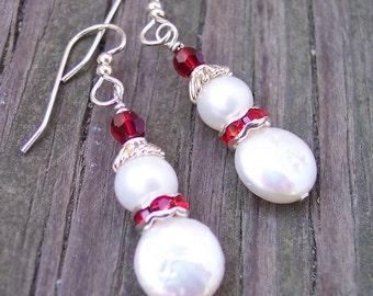 Silver Snowmen Earrings, Pearl Earrings, Sterling Silver Snowmen, Gift for Her, Gift for Grandma, Stocking Stuffer, Christmas Gift, Solstice