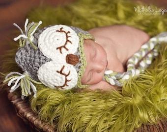 Owl hat for baby gray/green/brown. Crochet sleepy