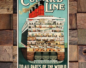 To All Parts of the World Cunard Line Vintage Ad, Vintage Ship, Vintage Travel Ad, Vintage Art, Giclee Art Print, fine Art Reproduction