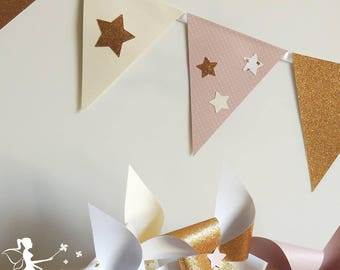 Garland of 12 pink flags powder - ivory - Gold Star decor 165cm