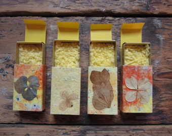 Little gift boxes of handmade paper decorated with nature material. Set of 4.(no.006)
