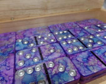 Stars in a Twilight Sky - Hand Painted 28 Piece Standard Size Domino Set in Handsome Lidded Wood Storage Box, alcohol inks, instructions