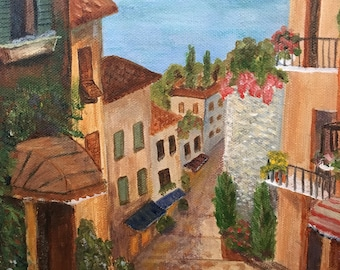 Original acylic painting streetscape