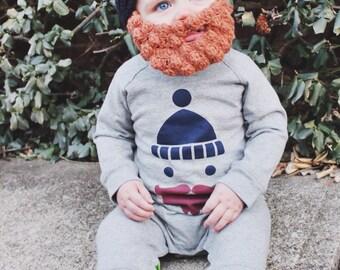 Lumberjack Baby Beard Beanie in ANY COLOR COMBO, Crochet Baby Hat, Cute Baby Gift, Lumberjack Baby Hat, Beard Hat, Baby Beanie, Hipster Baby