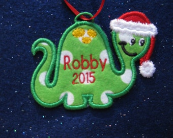 Personalized Dino Christmas Ornament or Gift Tag
