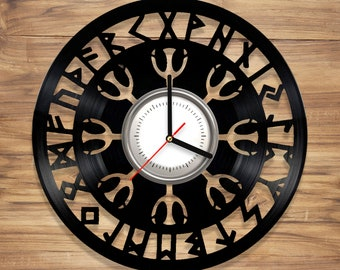 Viking Symbols Vinyl Wall Clock Norse Symbols Vegvisir Compass Perfect gift Art Decorate Home UNIQUE GIFT idea for Him Her (12 inches)