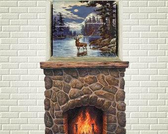 Living Room Art, Family Room Art, Office Art, Bedroom Art, Deer in Moonlight  #463  FREE SHIPPING