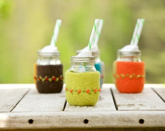 Pint size Felted wool mason jar cozy set lemongrass pint size