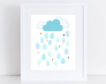 baby shower fingerprint guest book alternative - personalised nursery art print, rain drop baby shower, showers of joy rain cloud guestbook