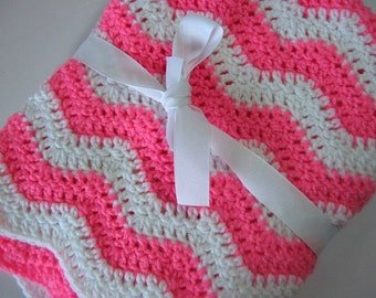 Easy Ripple Baby Blanket Crochet PDF Pattern Instant Download Tutorial