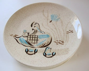 Red Wing 'Bob White' Pattern - Six Dinner Plates - 50s to 60s Style - Abstract Birds and Milkweed Puffs - Brown Flecks - Turquoise Accents