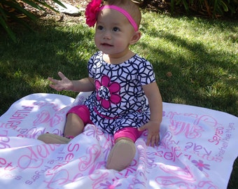 Personalized Baby Blanket - Monogrammed Baby Blanket for Girls - Custom Receiving Blanket - Newborn Swaddling Blanket - Baby Photo Prop