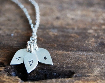 Dainty Little Leaf - Lower Case Initial Necklace - Personalized with Three Leaves