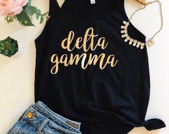 Sorority Shirt - Delta Gamma Tank Top - Script Gold Foil Flowy Tank Top - Big Little Shirt -Bid Day Shirt - Sorority Shirt - DG Shirt